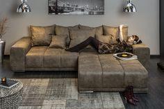 Sedačka vo farbe taupe GLANZ TAUPE. Design Rustique, Style Rustique, Xxl Sofa, Sofa Couch, Sofas, Couch Design, Furniture, Microfibre, Coin