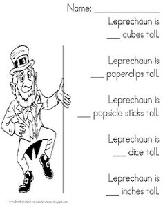 Leprechaun Measuring Activity Also: incredible kid day celebration ideas!