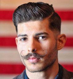side part pompadour and hipster moustache Side Part Hairstyles, Slick Hairstyles, Undercut Hairstyles, Hipster Haircuts For Men, Hipster Hairstyles, Men Hipster, Handlebar Mustache, Beard No Mustache, Mens Facial