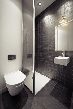 Dark grey and white bathroom. Like the small tiles and shower screen for a small bathroom