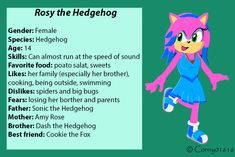 Design and Character belongs to my twin, is made by me. Other OC's of my twin: Dash the Hedgehog Cody the Hedgebat Jewel the Bat Fla. Rosy the Hedgehog: Characteristic Speed Of Sound, Her Brother, Losing Her, Sonic The Hedgehog, The Outsiders, Baby, Fictional Characters, Baby Humor, Fantasy Characters