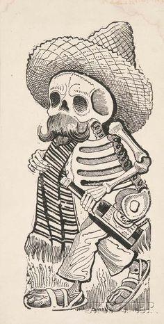 Calavera By Jose Guadalupe Posada Los Muertos Tattoo, Day Of The Dead Art, Skeleton Art, Chicano Art, Mexican Art, Skull And Bones, Cultura Pop, Skull Art, Dark Art