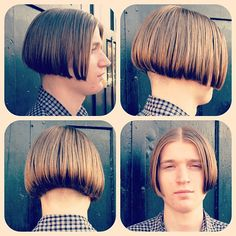 «Check out the amazing I just cut on this Shaggy Bob Haircut, Cute Bob Haircuts, Haircuts For Men, Mushroom Haircut, Long Hair Cuts, Long Hair Styles, Androgynous Haircut, Shaved Nape, Boys Long Hairstyles