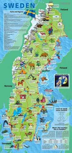 This informative and generously illustrated folder describes everyday life in Sw. - This informative and generously illustrated folder describes everyday life in Sweden for schoolchil - Sweden Map, Sweden Travel, Travel Maps, Places To Travel, Finland Facts, Learn Swedish, Swedish Traditions, About Sweden, Thinking Day