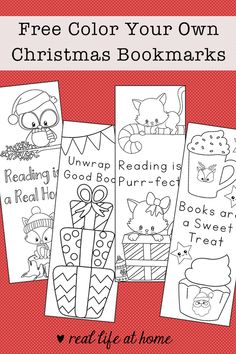 You will find a free printable set of four color your own Christmas bookmarks for kids. The bookmarks feature animals in Santa hats, presents, Christmas treats, and more with positive messages about books and reading. Bookmarks Diy Kids, Free Printable Bookmarks, Free Christmas Printables, Free Printables, Reading Bookmarks, Christmas Books, Christmas Themes, Kids Christmas, Coloring For Kids