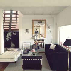 Modern vintage decor  Living room Barcelona chair Barcelona daybed Modern capitone sofa Eames rocker Gilt mirror