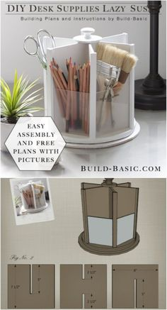 21 Awesome DIY Desk Organizers That Make The Most Of Your Office Space DIY Office Lazy Susan Related posts: 21 Awesome DIY Desk Organizers, die das Beste aus Ihrem Büro machen …. DIY desk with all boards! Desk Organization Diy, Craft Room Storage, Diy Storage, Diy Organizer, Storage Organizers, Office Storage, Craft Rooms, Organizing Ideas, Craft Desk