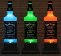 (6) Fancy - Jack Daniels Whiskey Color Changing LED Remote Controlled Eco Friendly Rgb LED Bottle Lamp/Bar Light on Luulla