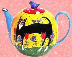 Кошки в саду Чайник Керамический чайник Шэрон Блума красочно расписанные вручную