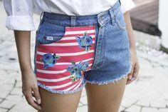 Summer Flowers LEE Highwaist Patchwork Jeans, Distressed Denim Shorts, Summer Flowers, Short Girls, Fashion Prints, Jean Shorts, Stitches, Style, Denim Shorts