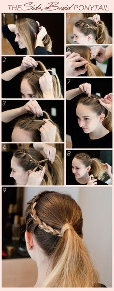 No-Heat Holiday Party 'Do: The Side Braided Ponytail If you're searching for hairstyles that No Heat Hairstyles, Sporty Hairstyles, Dutch Pigtail Braids, Hippie Braids, Side Braid Ponytail, Braided Hairstyles Tutorials, Braided Ponytail Hairstyles, Sport Hair, Short Grey Hair
