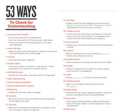 53 Ways to Check for Understanding!