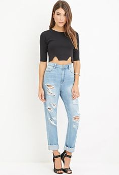 Distressed Boyfriend Jeans | Forever 21 - 2000157381