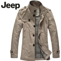 Jeep Men Business Style Long Sleeve Jacket-6602 Light Khaki - FixShippingFee- - TopBuy.com.au