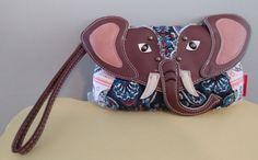 UNION BAY Women's Junior's Elephant Wristlet Purse Bag Cotton Brown Multi NEW #UnionBay #ClutchWristlet