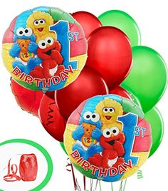 """Sesame Street 1st Birthday Party Balloon Package -Includes (2)18"""" Round Mylar (2)18"""" Color Mylar (6)12"""" Red/Green Latex & Curling Ribbon Anagram http://www.amazon.com/dp/B00LA17CB8/ref=cm_sw_r_pi_dp_rahlub16MY56H"""