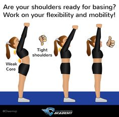cheerleading stunting Cheer flexibility tips for bases: are your shoulders ready for basing? Work on shoulder flexibility! Find out more tips on the link Cheerleading Workouts, Cheer Tryouts, Cheer Coaches, Cheer Stunts, Cheer Dance, Cheerleading Hair, Cheer Athletics, Gymnastics Workout, Rhythmic Gymnastics