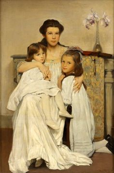 The Artist's Wife And Daughters by William Sergeant Kendall (1869 – 1938, American)