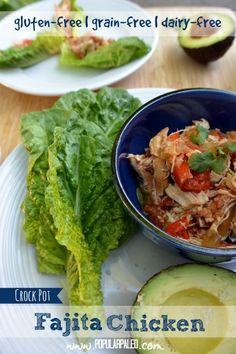 Crock Pot Fajita Chicken on www.PopularPaleo.com | Great chicken recipe for the slow cooker that's gluten free!