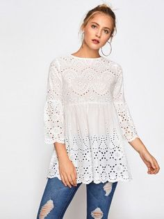 SheIn offers Eyelet Embroidered Scallop Trim Smock Blouse & more to fit your fashionable needs. Plain Tops, Types Of Sleeves, Blouse Designs, Blouses For Women, Designer Dresses, Fashion Outfits, Fashion 2018, Fashion Styles, Fashion Women