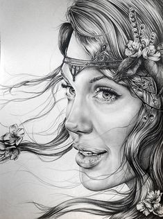 Blodeuwedd by Ashtoreth (Angelina Jolie) Pencil Drawing | First pinned to Celebrity Art board here... http://www.pinterest.com/fairbanksgrafix/celebrity-art/ #Drawing #Art #CelebrityArt