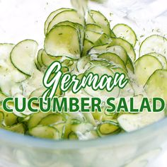 My German Cucumber Salad (Gurkensalat) is light, refreshing, and so easy to make! Made with sour cream, vinegar, and dill this creamy summer salad is perfect for your next BBQ party or potluck. # Food and Drink vegetarian sour cream German Cucumber Salad German Cucumber Salad, Cucumber Salad Vinegar, Asian Cucumber Salad, Cucumber Recipes, Salad Recipes, Cucumber Chips, Cucumbers In Vinegar, Cucumber Salad Sour Cream, Recipes With Dill