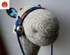 Wool sock, old mop / broom stick, yarn, mop string, clothes line, buttons, felt, big jingle bells... how simple, dependding on your skills this can be a no sew craft, use hot glue and zip ties to secure stuffed horse head to the stick.... too funny, use striped socks... great friend for your sock monkey!
