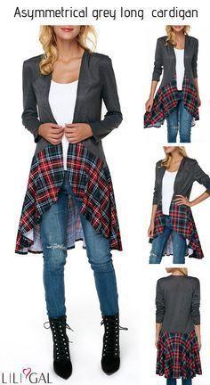 Long Sleeve Asymmetric Hem Dark Grey Ca… Diy Fashion, Ideias Fashion, Autumn Fashion, Womens Fashion, Diy Clothing, Sewing Clothes, Redo Clothes, Diy Vetement, Altered Couture