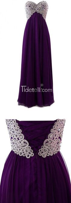 sweetheart, chiffon, purple formal dress...2016