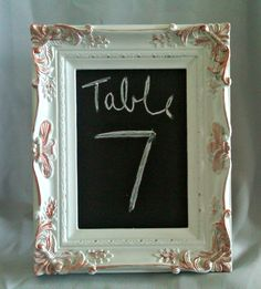 Vintage Wedding Chalkboard Table Number Frame.