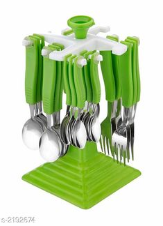 Cutlery  Premium Kitchen Cutlery Serving Set with Revolving Stand  Material : ABS Plastic & Stainless Steel Size :  Free Size Description :  It Has 24 Pieces Of   Premium Kitchen Cutlery Serving Set with Revolving Stand Country of Origin: India Sizes Available: Free Size *Proof of Safe Delivery! Click to know on Safety Standards of Delivery Partners- https://ltl.sh/y_nZrAV3  Catalog Rating: ★4.3 (1186)  Catalog Name: Lovely Essential Cutlery Set Vol 1 CatalogID_291287 C135-SC1661 Code: 704-2192674-