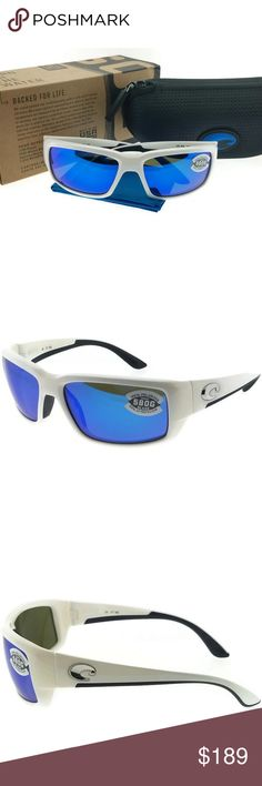 c35c38baf3e18 TF25OBMGLP Men s White Frame Blue Lens Polarized New gorgeous authentic Costa  del mar TF25OBMGLP white frame