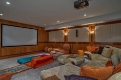 Craftsman Style Home Theater With Eclectic Seating - Cherry Hills Village, Colo. Kid Spaces, Living Spaces, Living Room, Modern Mountain Home, Best Home Theater, Modern Style Homes, Backyard For Kids, Craftsman Style, My Dream Home