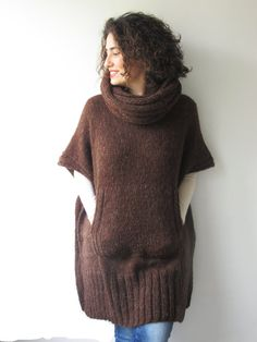 Brown Mohair Hand Knitted Poncho with Accordion Hood and Pocket Plus Size Over Size Tunic - Dress by Afra