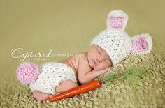 White Bunny Hat Diaper Cover Set Newborn Baby