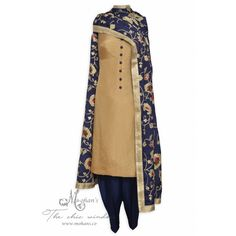 Attractive bronze unstitched suit complemented with heavy dupatta-Mohan's the chic window
