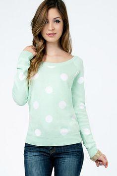 Mint polka-dot sweater