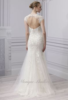 monique lhuillier - wedding dress - bridal - collection - spring 2013 - platinum collection - radiance - ivory chantilly lace illusion cap sleeve sheath with embroidered tulle overlay, low back, and godet skirt
