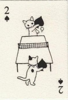Cats in Illustration: Japanese Playing Cards, Two of Spades-- cats playing ping-pong with the spades used as table tennis paddles. Crazy Cat Lady, Crazy Cats, I Love Cats, Cat Art, Art Inspo, Hello Kitty, Illustration Art, Friends Illustration, Girl Illustrations