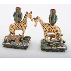 Ardmore Ceramics: Giraffe Candlesticks Pair