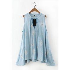 Yoins Light Blue Sleeveless Retro Print Dress ($25) ❤ liked on Polyvore featuring dresses, black, bohemian dress, floral dress, bohemian style dresses, cutout dress and boho chic dresses