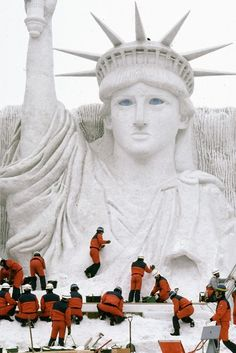 Snow sculpture of Lady Liberty...