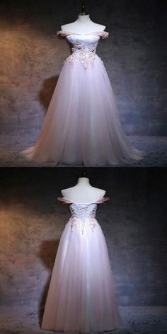 Gorgeous Floor-Length Light Pink Off Shoulder Tulle Prom Dresses With Appliques Prom Dresses 2018, Unique Prom Dresses, Tulle Prom Dress, Event Dresses, Occasion Dresses, Lace Dress, Wedding Dresses, Pretty Dresses, Princess Frocks