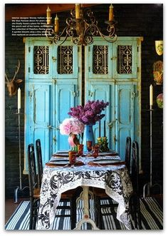 turquoise...Looking to do something like this for my apartment.