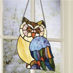 Owl Stained Glass Art Panel from Seventh Avenue ®