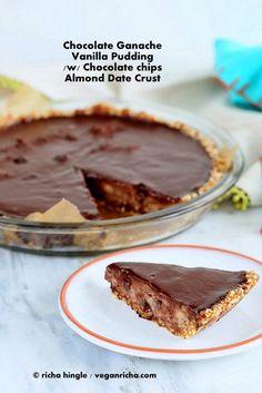 Chocolate Chip Pudding Pie with Chocolate Ganache and Almond Date Crust. Vegan Glutenfree Soyfree Recipe