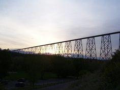 Longest, highest, trestle bridge in the world. Lethbridge, Alberta, Canada