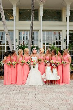 Key Largo Beach Wedding at Marriott Bay Resort from Elle Golden Photography Coral Bridesmaid Dresses, Wedding Bridesmaids, Wedding Dresses, Beach Wedding Reception, Beach Weddings, Orange Weddings, Wedding Navy, Wedding Mandap, Beach Ceremony