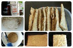 Eiweiß-Knäckebrot - Protein bread / cracker 50g Leinsamen (ganz oder geschrotet); 50g Sojamehl; 50g Eiweiß Pulver (neutraler Geschmack); 100g Mandeln (gerieben oder gehobelt) Alles in einer Schüssel mischen - dann 300 ml Wasser zugeben. Teig gleichmäßig und dünn auf einem mit Backpapier belegten Blech verteilen. Im vorgeheizten Ofen bei 180 °C ca. 10min backen. Nachdem der Teig fest ist noch heiß in Knäckebrot große Stücke schneiden, wenden und nochmal im Ofen weiter trocknen bis zur…