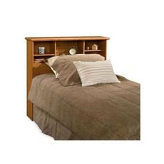 Keep everything you need close by your bed with the Sauder Orchard Hills Twin Bookcase Headboard. Its soft Carolina Oak color ensures that it will be fashion. Headboard With Shelves, Bookcase Headboard, Twin Headboard, Headboards For Beds, Sauder Bookcase, Spare Room Office, Engineered Wood, Wood Design, Adjustable Shelving